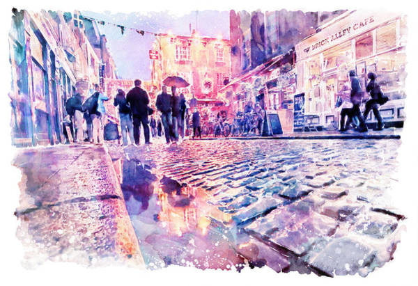 Temple Bar Wall Art - Painting - Dublin Watercolor Streetscape by Marian Voicu