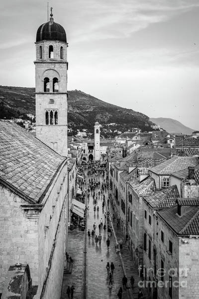 Photograph - Dubrovnik Stradun From The City Walls, Black And White, Dubrovnik, Croatia by Global Light Photography - Nicole Leffer