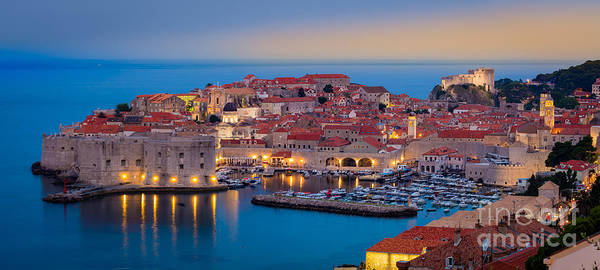 Fortification Photograph - Dubrovnik Twilight Panorama by Inge Johnsson