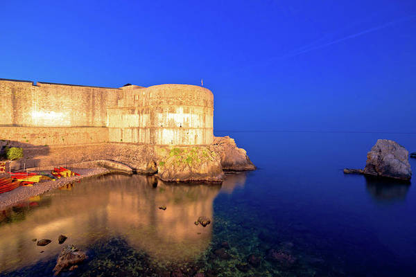 Lokrum Photograph - Dubrovnik Walls And Waterfront Evening View by Brch Photography