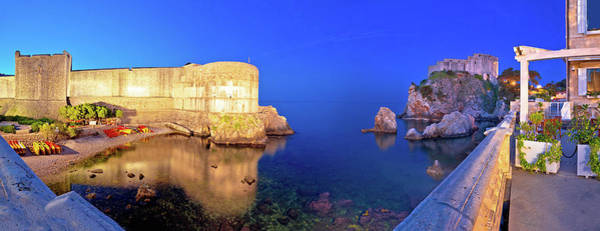 Lokrum Photograph - Dubrovnik Walls Evening Panoramic View by Brch Photography