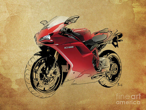 Wall Art - Digital Art - Ducati 1098, Red Motorcycle, Vintage Background by Drawspots Illustrations
