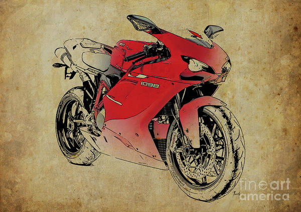 Mom Digital Art - Ducati 1098s 2007, Original Artwork For Fathers Day Gift by Drawspots Illustrations