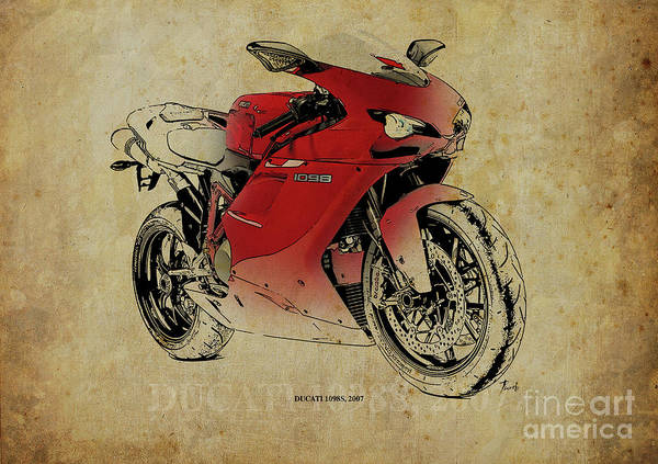 Father Digital Art - Ducati 1098s, Gift For Bikers, Original Gift For Dad by Drawspots Illustrations