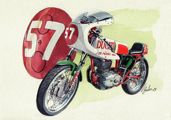 Racers Painting - Ducati Classic Racer by Yoshiharu Miyakawa