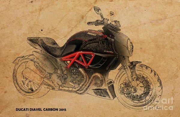 Carbon Wall Art - Digital Art - Ducati Diavel Carbon by Drawspots Illustrations