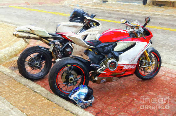 Photograph - Ducati Duo - Painterly by Les Palenik