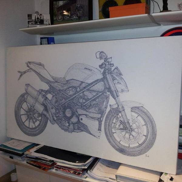 Illustration Wall Art - Photograph - Ducati. Handmade Drawing.  by Drawspots Illustrations