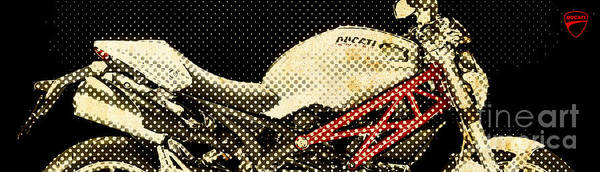 Wall Art - Painting - Ducati Monster 1100 2010, Big Dots Like Old Newspaper by Drawspots Illustrations