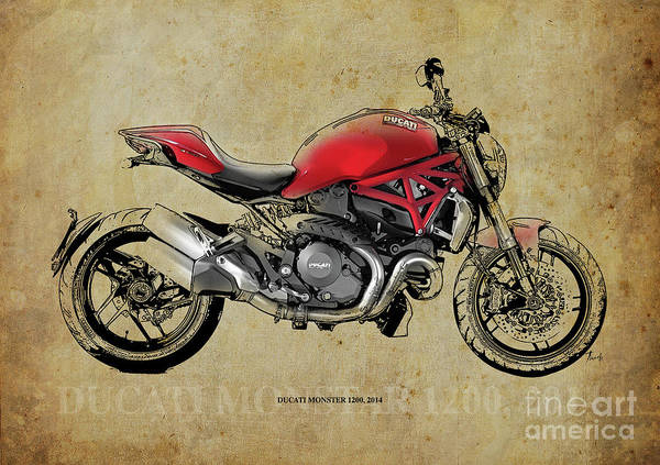 Man Cave Drawing - Ducati Monster 1200, 2014, Red Motorcycle, Gift For Husband, Gift For Bikers by Drawspots Illustrations