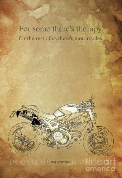 Wall Art - Digital Art - Ducati Motorcycle Quote by Drawspots Illustrations