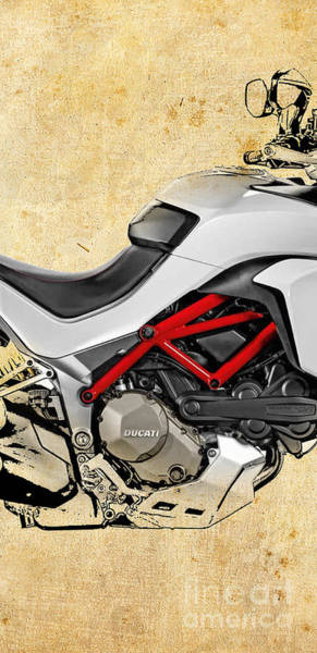 Wall Art - Digital Art - Ducati Multistrada Color - 2 Of 3 by Drawspots Illustrations