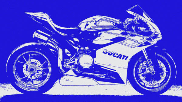 Digital Art - Ducati Panigale 1299 - In Blue by Andrea Mazzocchetti