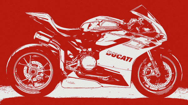 Digital Art - Ducati Panigale 1299 - In Red by Andrea Mazzocchetti