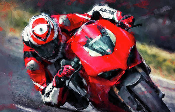Painting - Ducati Panigale V4 - 02  by Andrea Mazzocchetti