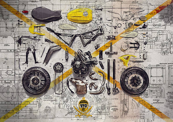 Enduro Wall Art - Digital Art - Ducati Scrambler Components by Yurdaer Bes