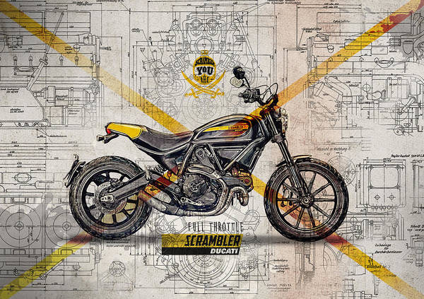 Enduro Wall Art - Digital Art - Ducati Scrambler Full Throttle by Yurdaer Bes