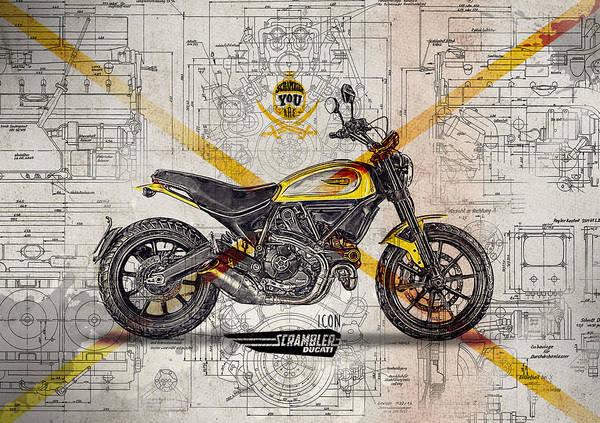 Enduro Wall Art - Digital Art - Ducati Scrambler Icon by Yurdaer Bes