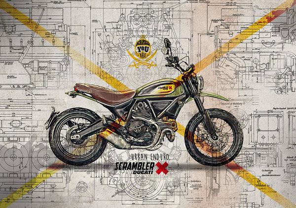Enduro Wall Art - Digital Art - Ducati Scrambler Urban Enduro by Yurdaer Bes