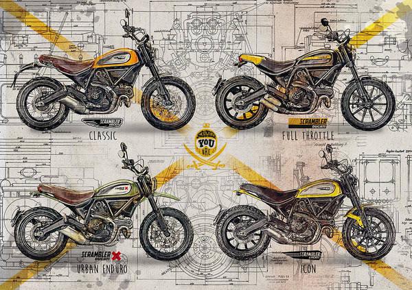 Enduro Wall Art - Digital Art - Ducati Scrambler by Yurdaer Bes
