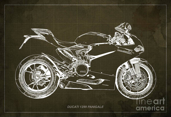 Man Cave Drawing - Ducati Superbike 1299 Panigale 2015, Gift For Men, Brown Background by Drawspots Illustrations