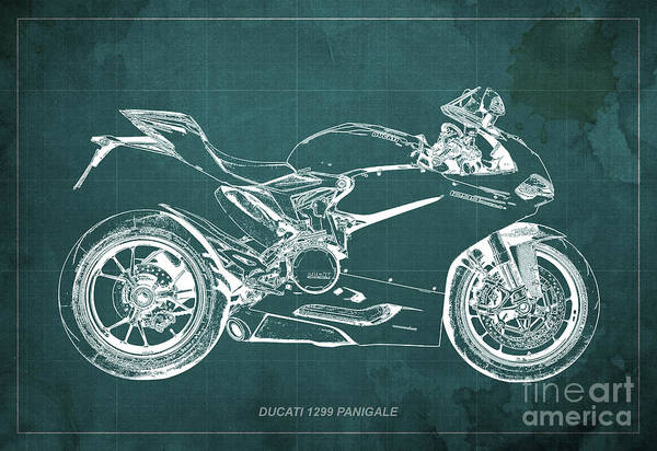 Father Digital Art - Ducati Superbike 1299 Panigale 2015, Gift For Men, Green Background by Drawspots Illustrations