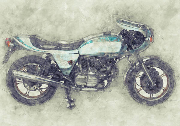 Wall Art - Mixed Media - Ducati Supersport 1 - Sports Bike - 1975 - Motorcycle Poster - Automotive Art by Studio Grafiikka