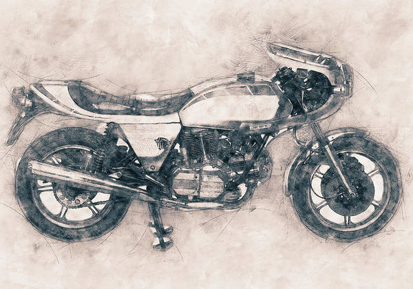 Wall Art - Mixed Media - Ducati Supersport - Sports Bike - 1975 - Motorcycle Poster - Automotive Art by Studio Grafiikka