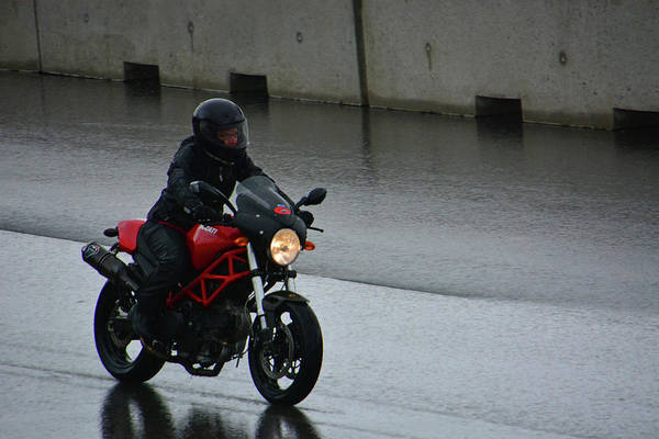 Whiskey Hill Wall Art - Photograph - Ducatti In The Rain by Mike Martin