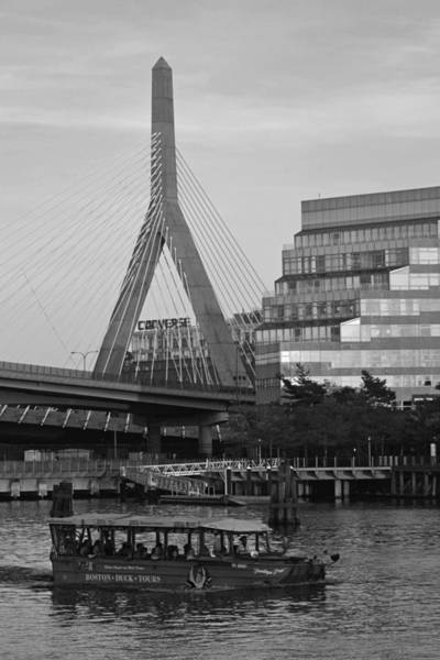Photograph - Duck Boat In Front The Lenny Zakim Bridge Boston Ma Black And White by Toby McGuire