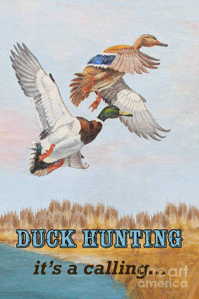 Marsh Bird Painting - Duck Hunting-jp2818 by Jean Plout