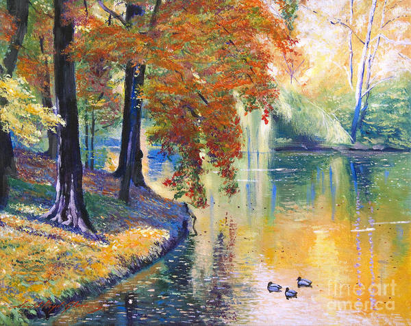 Lakeside Wall Art - Painting - Duck Pond by David Lloyd Glover