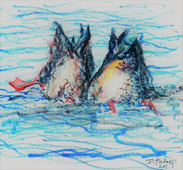 Mixed Media - Duck Tails by Denise F Fulmer