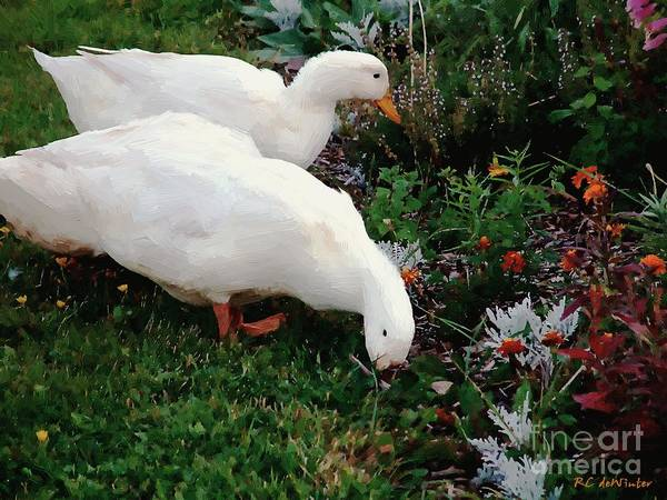 Painting - Ducks In The Garden At The Shipwright's Cafe by RC DeWinter
