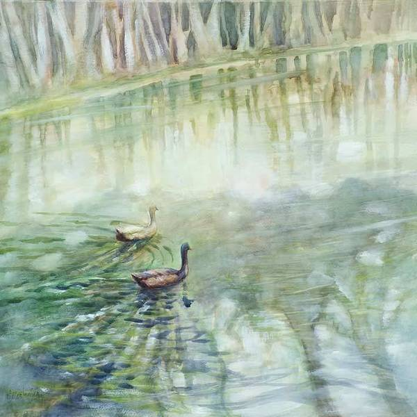 Wall Art - Painting - Ducks In The Shade    by Ekaterina Mortensen