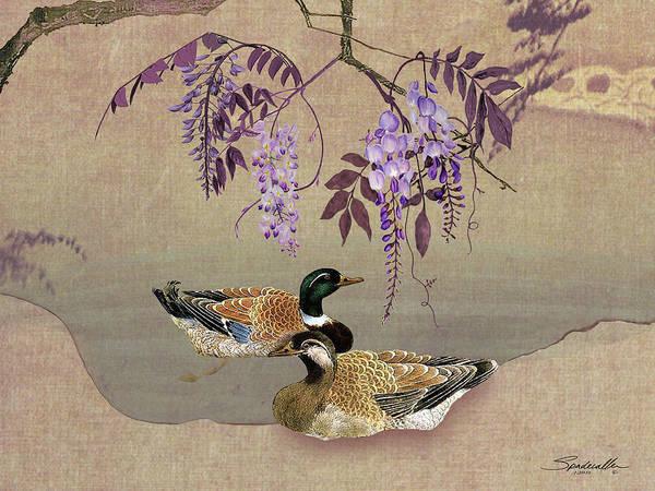 Digital Art - Ducks Under Wisteria Tree by M Spadecaller