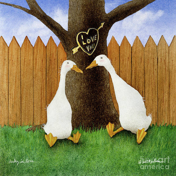 Wall Art - Painting - Ducky In Love... by Will Bullas
