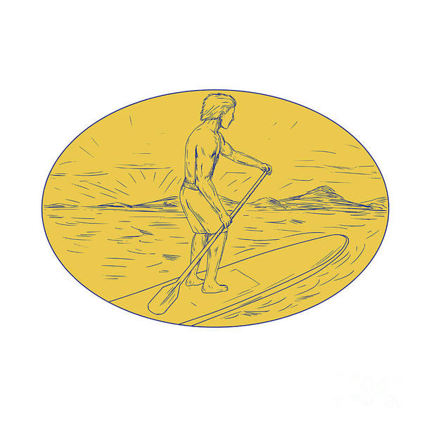 Oar Digital Art - Dude Stand Up Paddle Board Oval Drawing by Aloysius Patrimonio