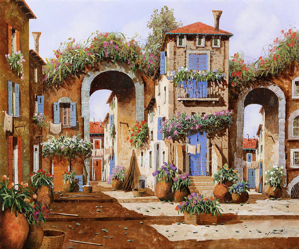 Wall Art - Painting - Due Archi Nel Borgo by Guido Borelli