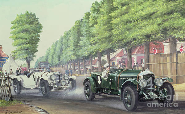 Wall Art - Painting - Duel At Pontlieu, Le Mans, 1930  by Richard Wheatland