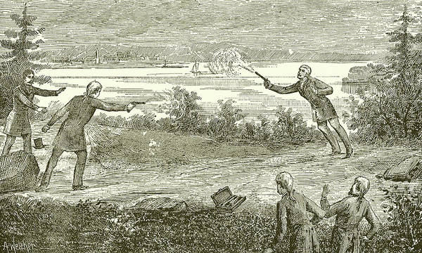 Dueling Wall Art - Drawing - Duel Between Alexander Hamilton And Aaron Burr by American School