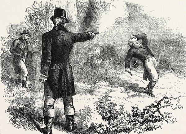 Dueling Wall Art - Drawing - Duel Between Burr And Hamilton by American School