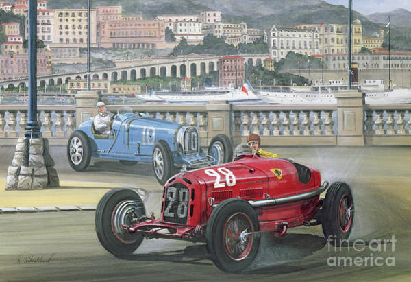 Romeo Painting - Duel On The Harbor Front, Monaco Grand Prix In 1933 by Richard Wheatland