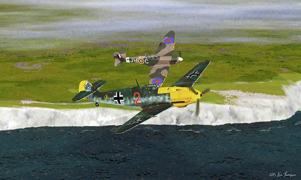 Blitz Digital Art - Duel Over Dover by Ken Thompson