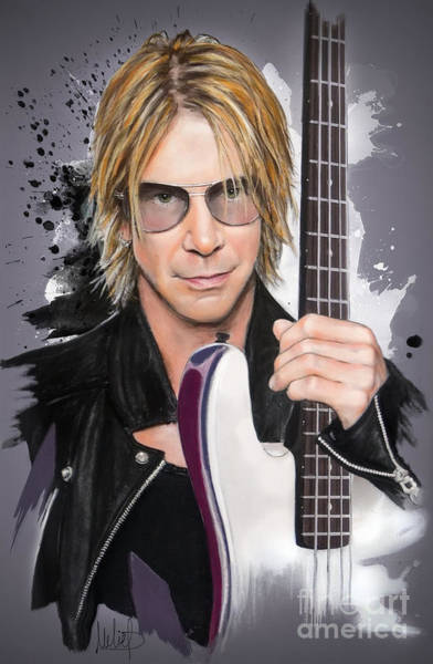 Bass Player Wall Art - Pastel - Duff Mckagan by Melanie D