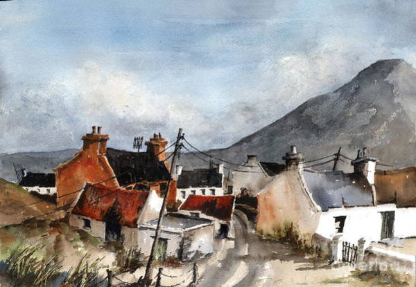 Painting -  F 701  Dugort Clachan Achill Mayo by Val Byrne