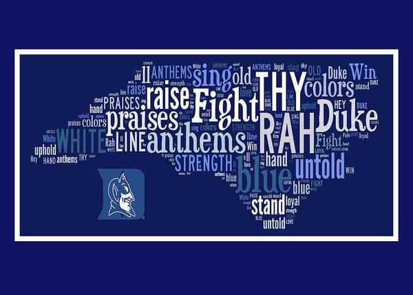Cheerleaders Digital Art - Duke Blue And White Greeting Card by Paulette B Wright