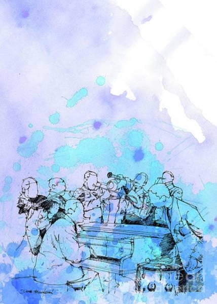 Wall Art - Digital Art - Duke Ellington Bjazz Band Blue Poster by Drawspots Illustrations