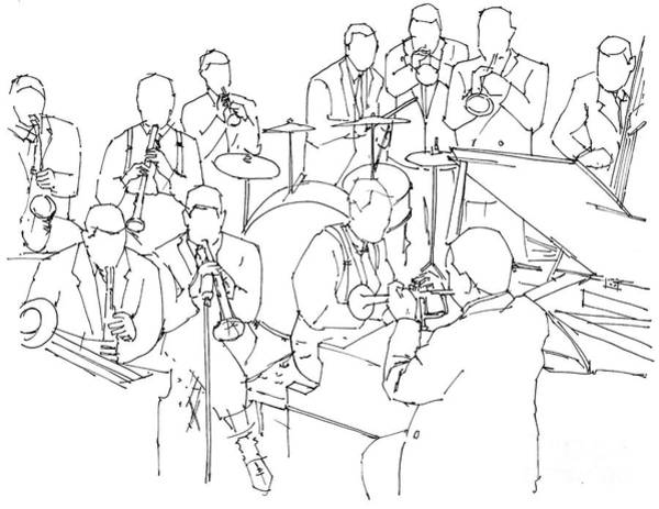 Wall Art - Painting - Duke Ellington Jazz Band Ink Drawing by Drawspots Illustrations