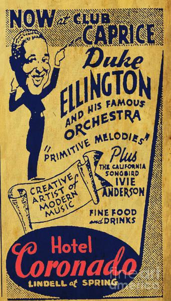 Wall Art - Drawing - Duke Ellington Old Flyer by Drawspots Illustrations